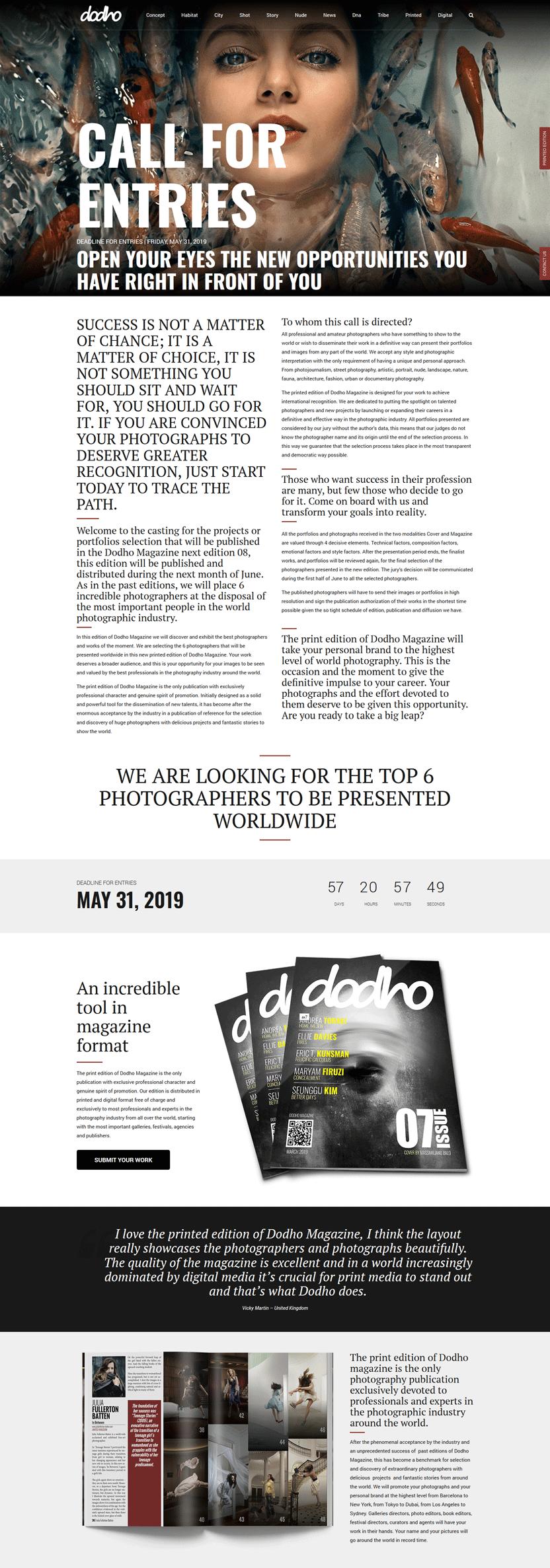 Призыв для заявок журнала Dodho
