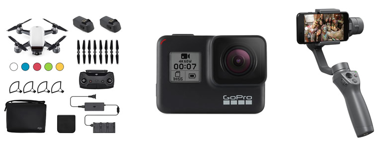 квадрокоптер DJI Spark Fly More Combo, экшн-камера GoPro 7 Black, стабилизатор DJI Osmo Mobile 2