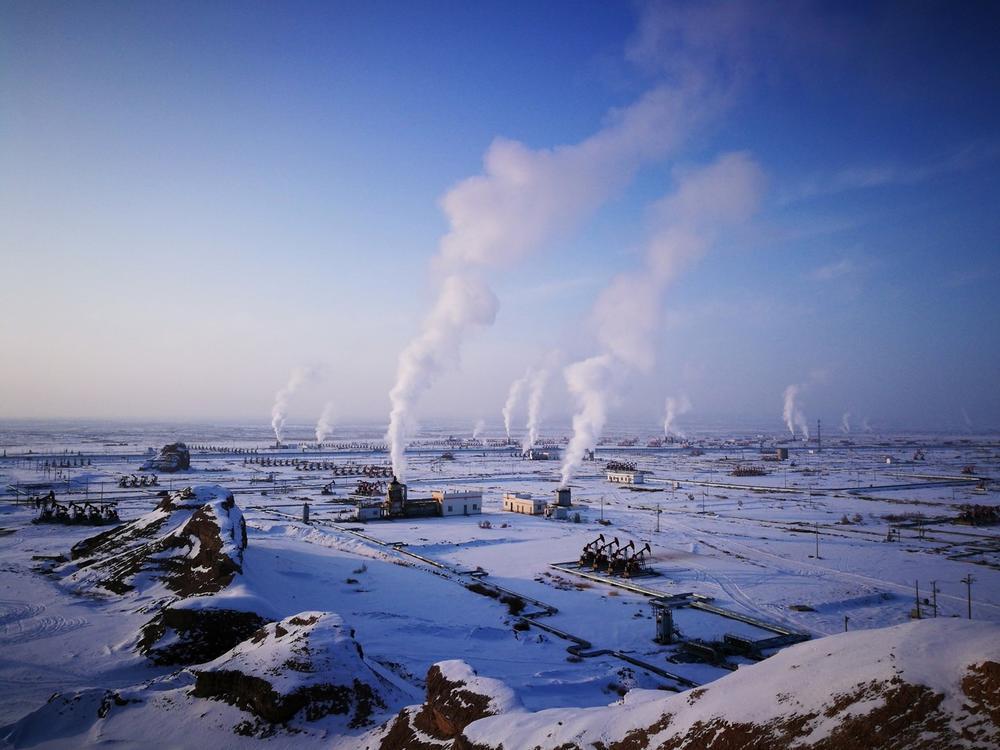 Зимнее нефтяное месторождение, © Мутоу Хе Вей, Конкурс мобильной фотографии Huawei
