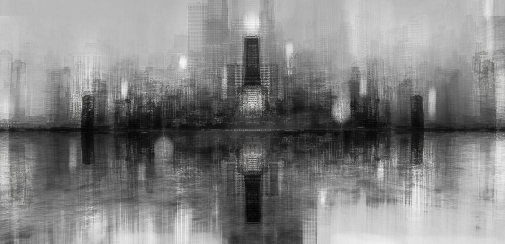 Чикагский горизонт, © Кармин Чириако (Италия), Абстрактное открытие года 2018 (любитель), Фотоконкурс Monochrome Awards
