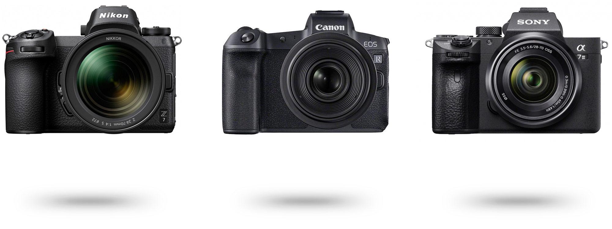 Nikon Z7, Canon EOS R, Sony Alpha 7III R