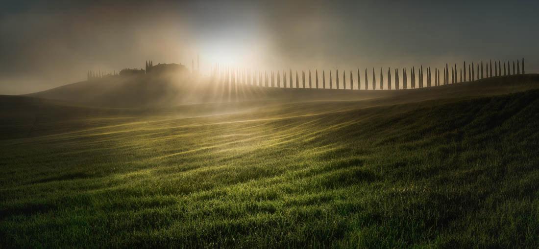 Расчесывая солнечный свет, Тоскана, Италия, © Веселин Атанасов, Победитель Открытой Премии - Природа / Пейзаж, Фотограф года, Конкурс панорамной фотографии EPSON Pano Awards