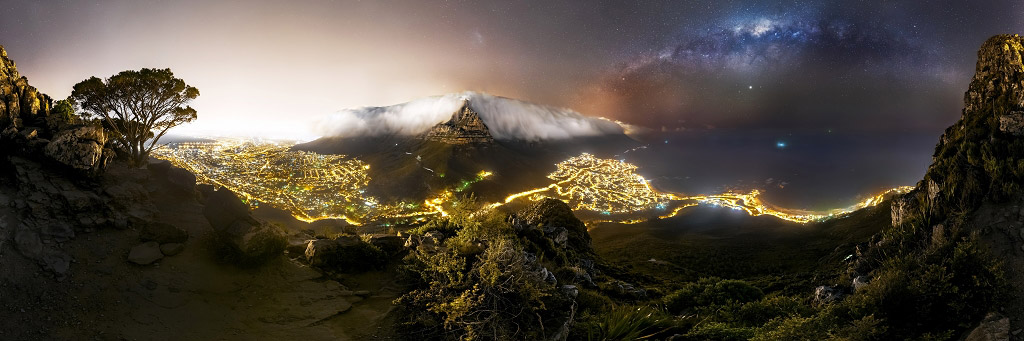 360° панорама на Голову Льва в Кейптауне, © Стефан Либерманн, 1 место в категории «В городе», Фотоконкурс «Ночной пейзаж» — Photo Nightscape Awards