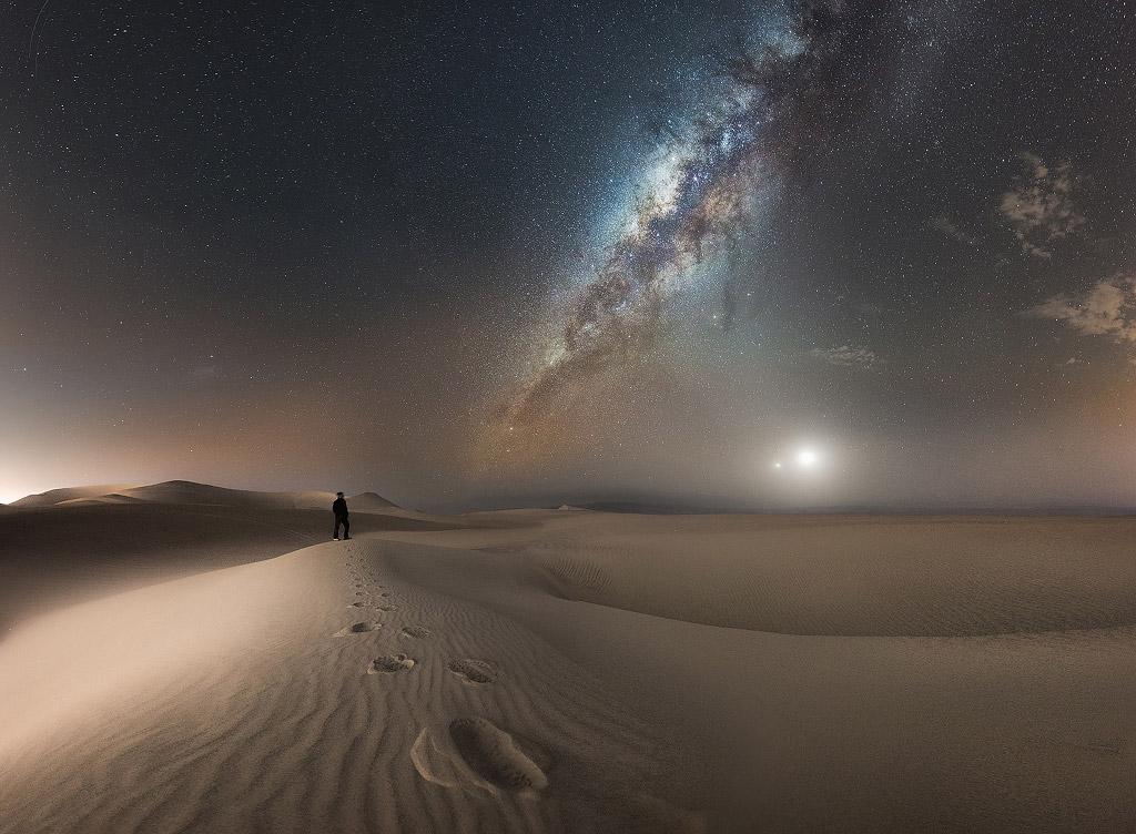 Человек, млечный путь, соединение Луны и Венеры, Перу, © Камило Джарамильо, Финалист категории «Ночной пейзаж», Фотоконкурс «Ночной пейзаж» — Photo Nightscape Awards